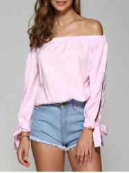 Off the Shoulder Bowknot Long Sleeve Blouse -