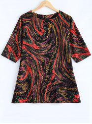 Plus Size Galaxy Print 3/4 Sleeve T Shirt