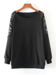 Lace Patchwork Pullover Sweatshirt - BLACK