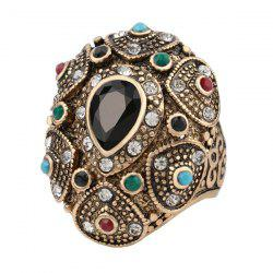 Faux Gem Emboss Teardrop Retro Ring -