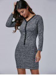 V Neck Buttoned Long Sleeve Mini Bodycon Dress - GRAY