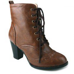 Chunky Heel Engraving Tie Up Ankle Boots - DEEP BROWN