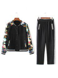 Flower Print Patchwork Bomber Jacket with Sporty Pants