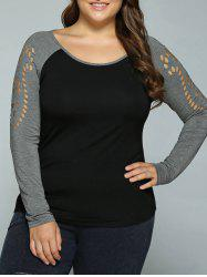 Plus Size Hollow Out Raglan Sleeve T-Shirt - BLACK AND GREY XL