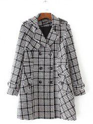 Plus Size Plaid Double Breasted Long Wool Coat - BLACK
