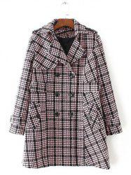 Plus Size Plaid Double Breasted Long Wool Coat - LIGHT PINK