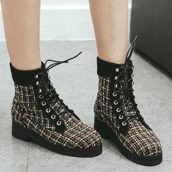 Color Block Plaid Pattern Tie Up Ankle Boots - BLACK 38