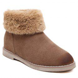 Flat Heel Faux Fur Zipper Snow Boots