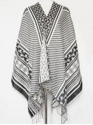 Winter Flower Stripe Pattern Tassel Pashmina Shawl Wrap Scarf