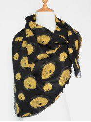 Winter Fringed Edge Skull Shawl Wrap Scarf - YELLOW