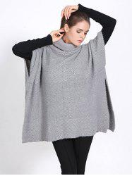 Streetwear High Neck Sweater Cape Poncho