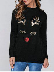 Christmas Sequins Deer Pullover Sweater - BLACK