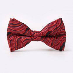 Wave Stripe Jacquard Double-Deck Bow Tie - RED