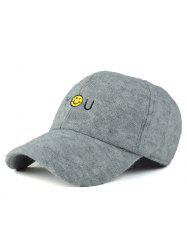Fall Smile Face You Embroidery Knit Baseball Hat - LIGHT GRAY
