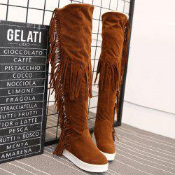 Platform Fringe Hidden Wedge Thigh Boots