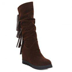 Hidden Wedge Fringe Mid Calf Boots