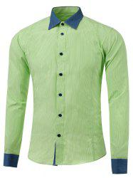Button Up Color Insert Pinstriped Shirt -