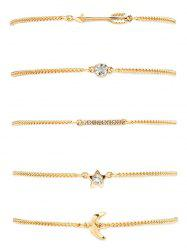 Rhinestone Pentagram Moon Arrow Bracelet Set -