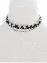 Faux Leather Rhinestone Rivets Choker -