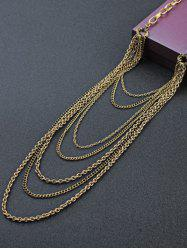 Vintage Multilayered Tassel Chains Necklace - GOLDEN