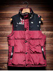 Stand Collar Printed Insert Quilted Waistcoat -