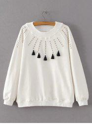 Beaded Tasseled Design Pullover Sweatshirt - WHITE L