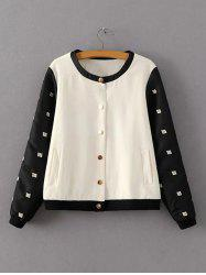 Two Tone Embroidered Bomber Jacket - WHITE/BLACK L