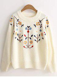 Pullover Floral Embroidered Knitted Sweater -