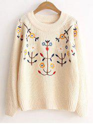 Pullover Floral Embroidered Knitted Sweater