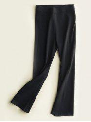 High Waist Slimming Boot Cut Pants - BLACK