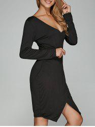 Long Sleeve V Neck Asymmetrical Dress