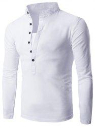 Long Sleeve Grandad Collar Button T Shirt - WHITE