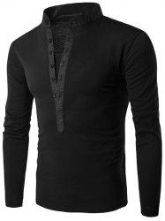 Long Sleeve Grandad Collar Button T Shirt - BLACK