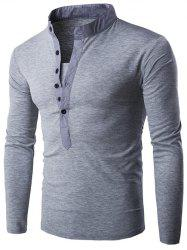 Long Sleeve Grandad Collar Button T Shirt - LIGHT GRAY