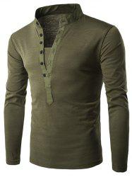 Long Sleeve Grandad Collar Button T Shirt - ARMY GREEN