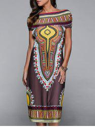 Hooded Ethnic Print Dress
