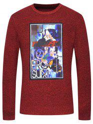 Crew Neck Graphic Print Melange Knitwear