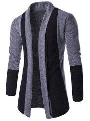 Slim-Fit Color Block Shawl Collar Cardigan - LIGHT GRAY