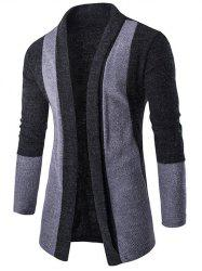 Slim-Fit Color Block Shawl Collar Cardigan - DEEP GRAY
