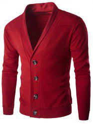 Slim-Fit Shawl Collar Button Up Cardigan - RED 2XL
