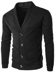 Slim-Fit Shawl Collar Button Up Cardigan - BLACK