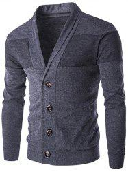 Slim-Fit Shawl Collar Button Up Cardigan - DEEP GRAY