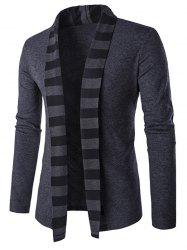 Slim-Fit Striped Shawl Collar Cardigan - GRAY