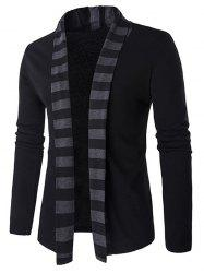 Slim-Fit Striped Shawl Collar Cardigan - BLACK