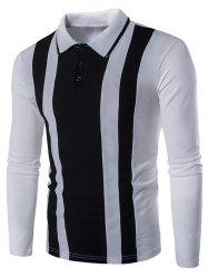 Color Block Striped Long Sleeve Polo Shirt