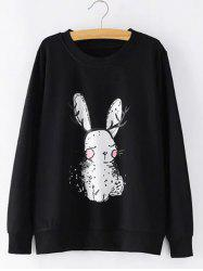 Plus Size Bunny Printed Sweatshirt -