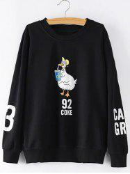 Plus Size Printed Sleeves Duckling Sweatshirt - BLACK 3XL