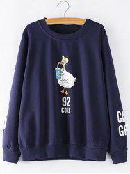 Plus Size Printed Sleeves Duckling Sweatshirt