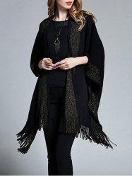 Plus Size Fringed Asymmetrical Shawl