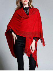 Plus Size Fringed Asymmetrical Cape